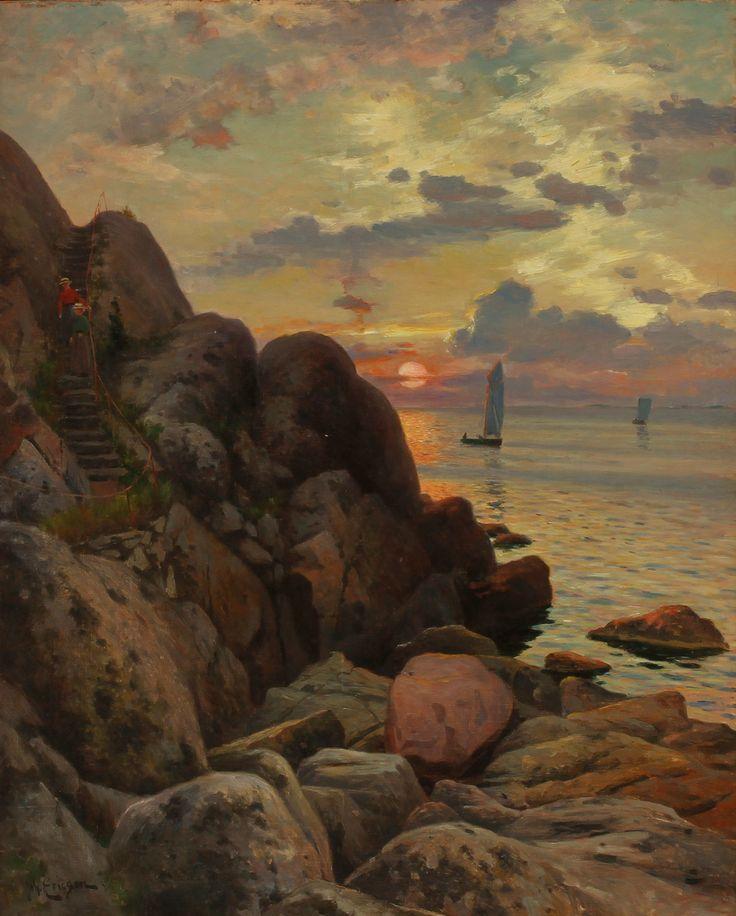 JOHAN ERICSON (1849-1925). Motiv från Marstrand. Olja på duk.