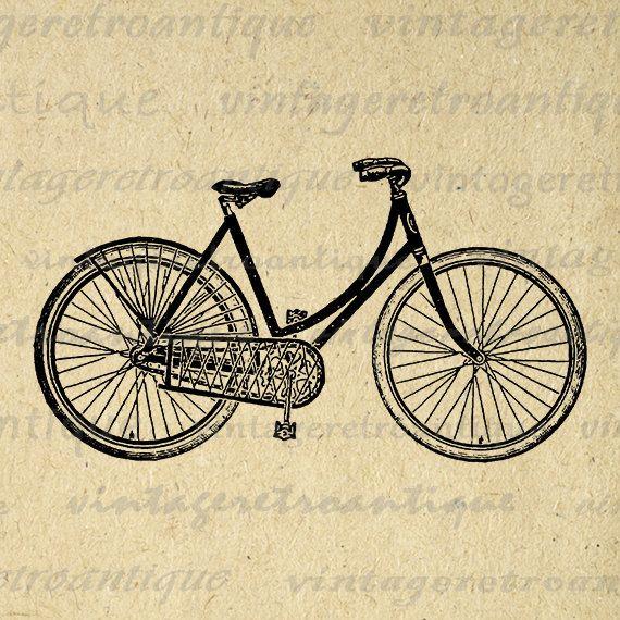 Digital Image Antique Ladies Bicycle Printable Bike Download Illustration Graphic Vintage Clip Art Jpg Png Eps 18x18 HQ 300dpi No.1484 @ vintageretroantique.etsy.com