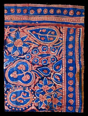 The David Collection - block-printed cotton,tabby weave. Gujarat India, 14th century. Traded to Egypt