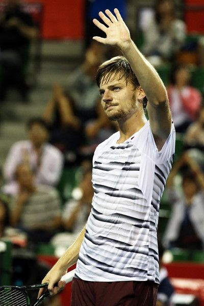 David Goffin Photos Photos - David Goffin of Belgium waves at the fans after winning the men's singles second round match against  Jiri Vesely of Czech Republic on day three of Rakuten Open 2016 at Ariake Colosseum on October 5, 2016 in Tokyo, Japan. - Rakuten Open 2016 - Day 3