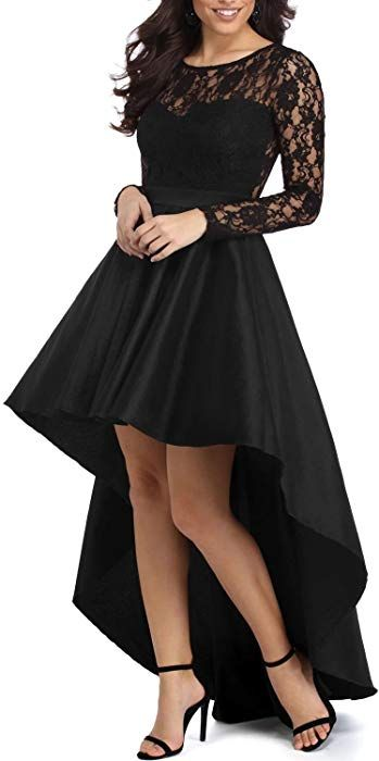 7a42e5d476 Elapsy Womens Elegant Long Sleeve Zipper Lace High Low Satin Prom Evening  Dress Cocktail Party Gowns Black Small at Amazon Women s Clothing store