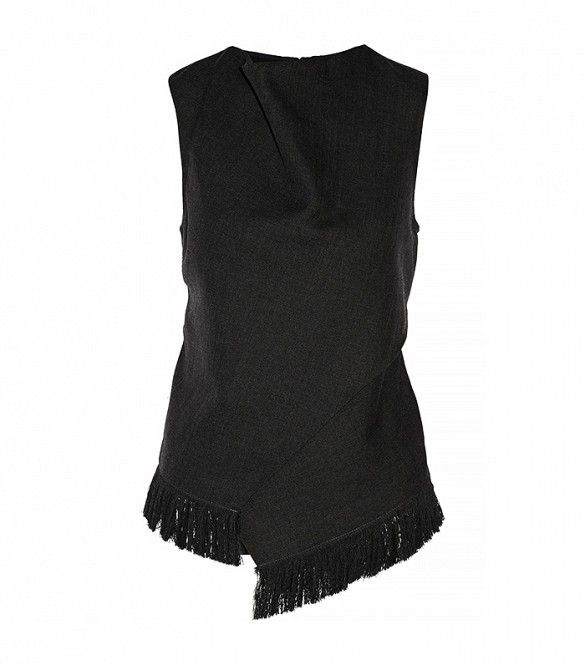 Fringed Wool and Silk Wrap Effect Top