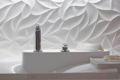 Salle de bains design avec faience matiérée et lavabo Bouroullec www.bullesdinspi.fr Florence Fémelat Décoratrice Rhône-Alpes : adore ce relief