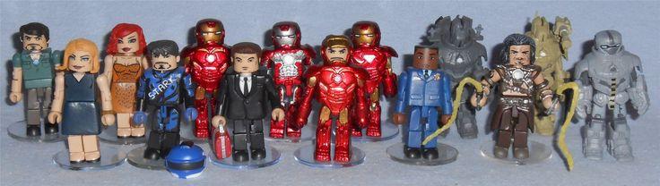 MiniMates - Marvel Iron Man 2 Stark Expo Tony Stark, Pepper Potts, Natalie Romanova, Race Track Tony Stark, Iron Man Mark IV, Happy Hogan, Iron Man Mark V,  Mark VI Iron Man, Iron Man Mark VI, Colonel James Rhodes, Air Assault Drone, Whiplash, Ground Assault Drone, and Hammer Drone