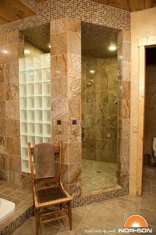 Glass block shower with tile perfect for the basement