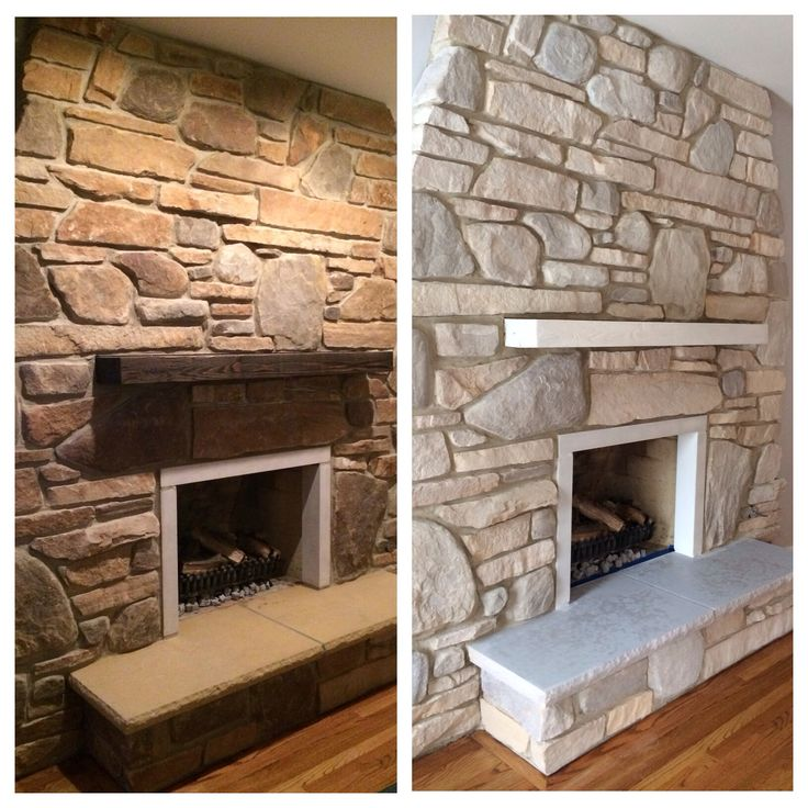White Washed Stone Fireplace Using Annie Sloan Chalk Paint For Our Home Pinterest