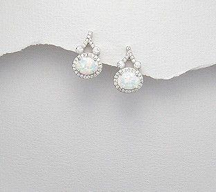 Oorbellen 'White Opals'
