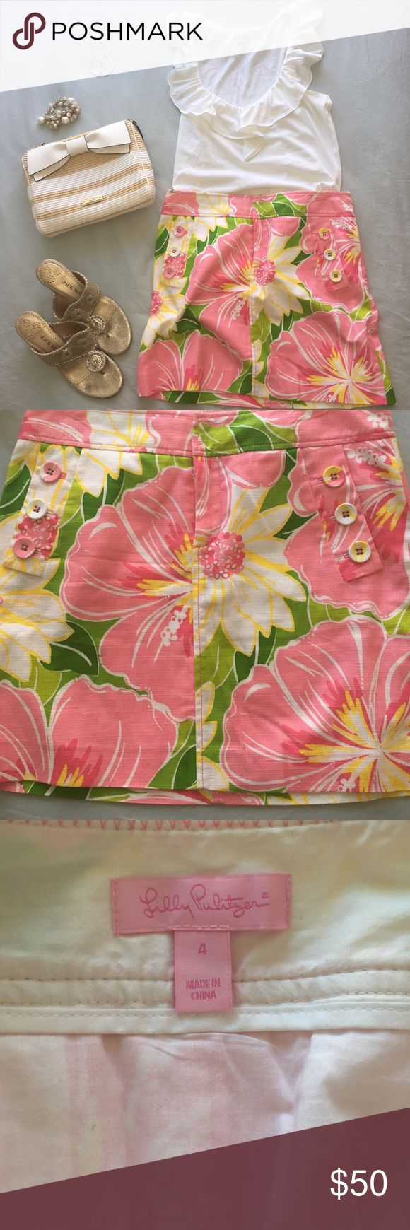 Lilly Pulitzer tropical print linen skirt Gorgeous skirt in one of Lilly's most famously color combos- pink and green!  Great for country club lunches and Island vacations!  Older Lilly style fits similar to a 2 in more recent collections.  Make me an offer! Lilly Pulitzer Skirts