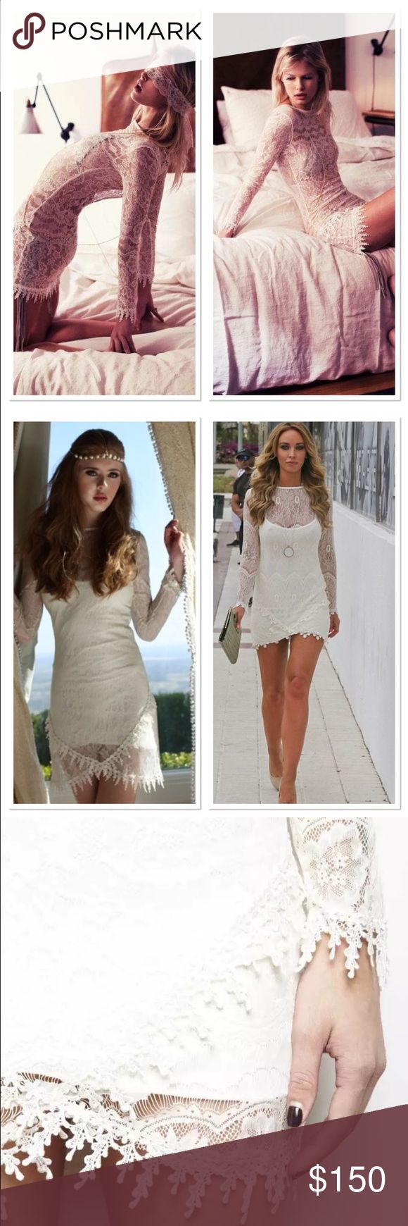 For Love and Lemons Scarlet Dress The most beautifully crafted lace mini dress is a stunner from one of FL&L's original collections.   Long sleeves and crochet trim at the cuffs and hem.   Comes with a detachable cami underneath.   Features a rose trim detail that is present at the bottom of the sleeves and along the hemline.   It is also present at the front of the skirt where it comes all together into a figure flattering V Shape.   Pure perfection. For Love and Lemons Dresses Mini