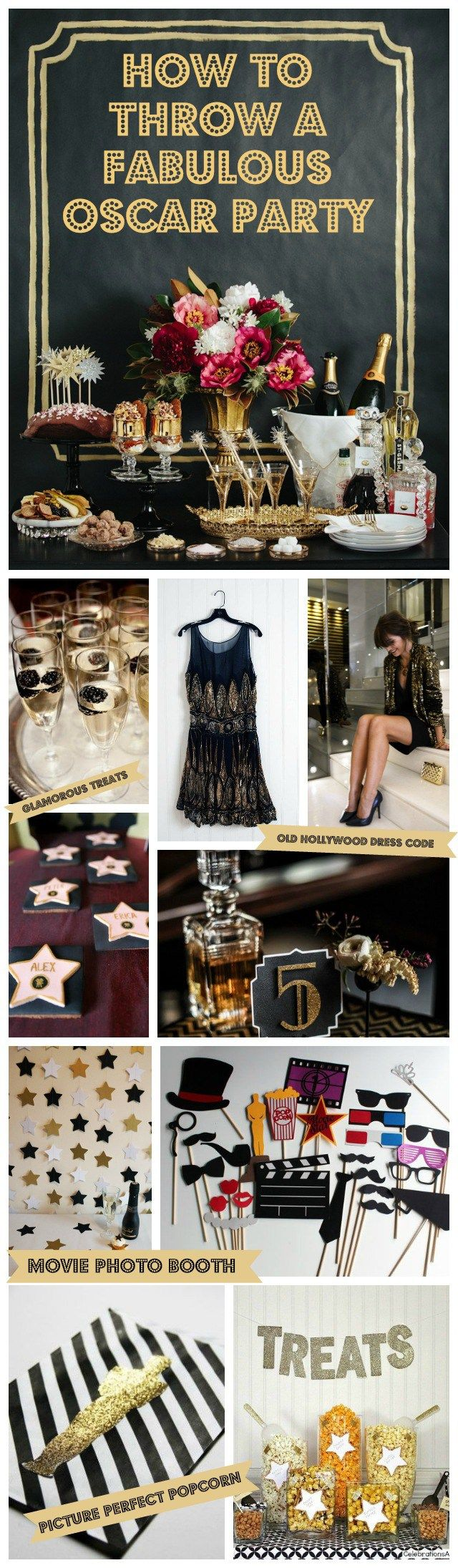 Black and Gold Party Ideas Academy  Oscar Golden Globes Awards Party Ideas