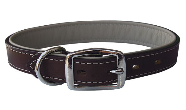 THE DEER RIDGE (DOG0177-9) This stylish and classically designed collar ensures you don't have to trade in style for durability. Made with top quality sunset single-ply harness leather with soft saddle tan deerskin padding for added comfort. Precisely stitched with coordinating thread for a complete look and finished with solid brass non-rust buckles, snap and dee ring for added functionality.