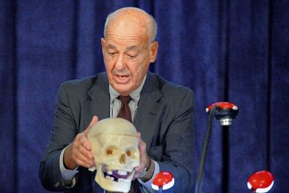 cyril wecht kennedy assassination 50 years | Cyril H. Wecht uses a skull to discuss the assassination of President ...