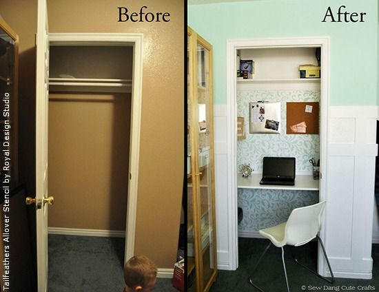 Before and after transform your drab closet with colorful paint and stencil patterns before - Small business space paint ...