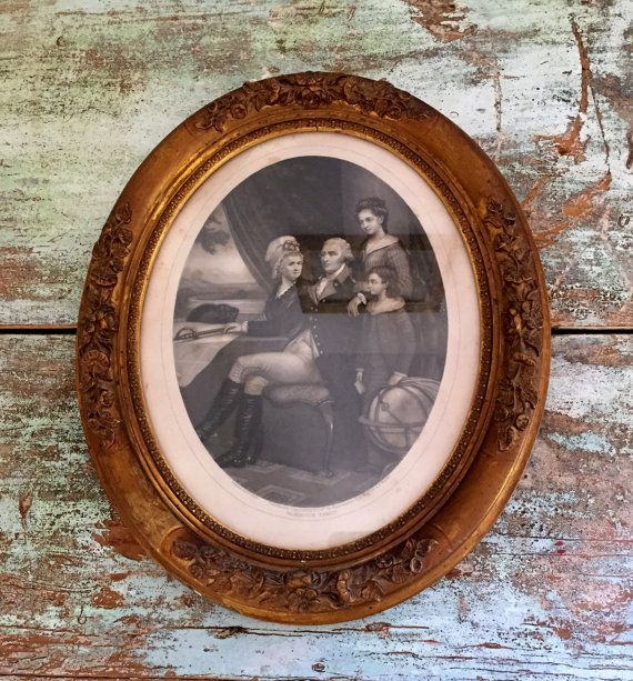 Antique 1860's George Washington family engraving by vintagewall