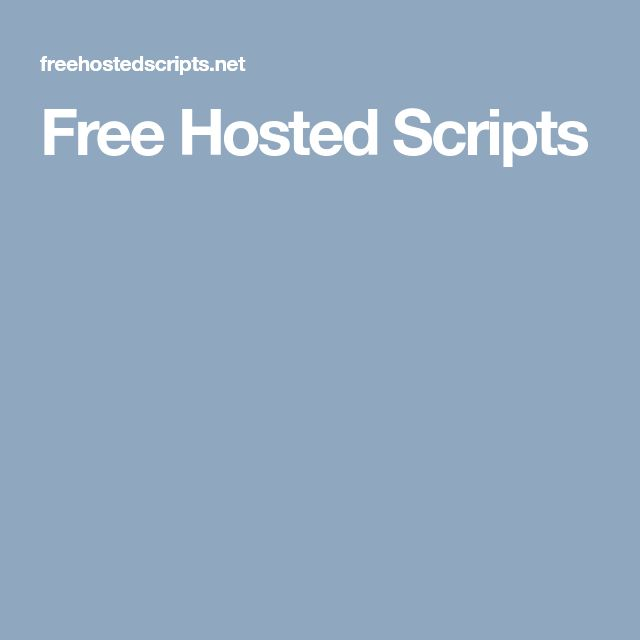 Free Hosted Scripts