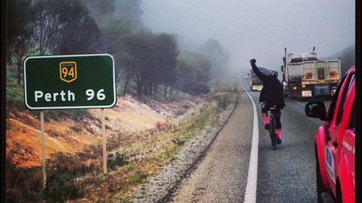 Shane Crawford riding from Melbourne to Perth ... #BCNA #PinkLady #Inspirational