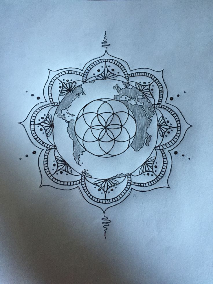 Sketch for my first tattoo! Seed of life, earth and mandala to represent family