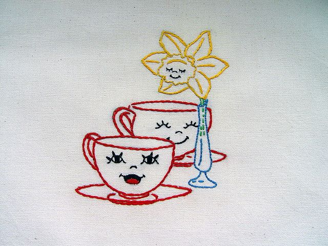 tea towels to embroider   ... SETTING - hand embroidered tea towel with vintage embroidery design