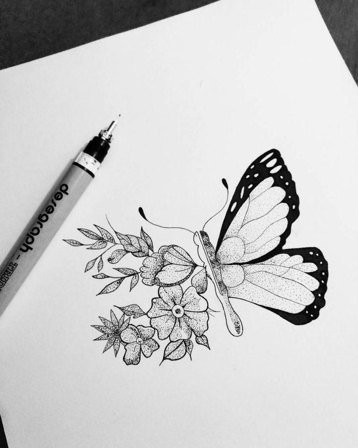 Desenho de borboleta em preto e branco. #desenho #drawing #art #arte #pretoebranco #borboleta