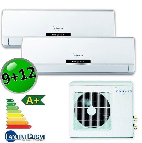 3S NEU Duo Split Inverter Klimaanlage FANAIR Efficient 2,6+3,5 KW für 25+30 m²