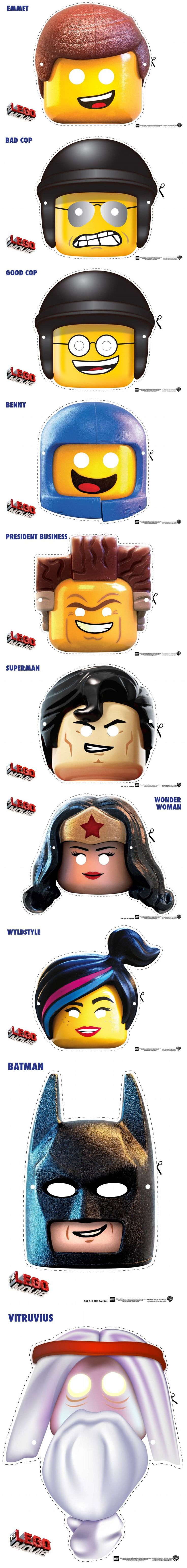 The LEGO Movie Character Mask Cut Outs, NOT terrifying AT ALL!