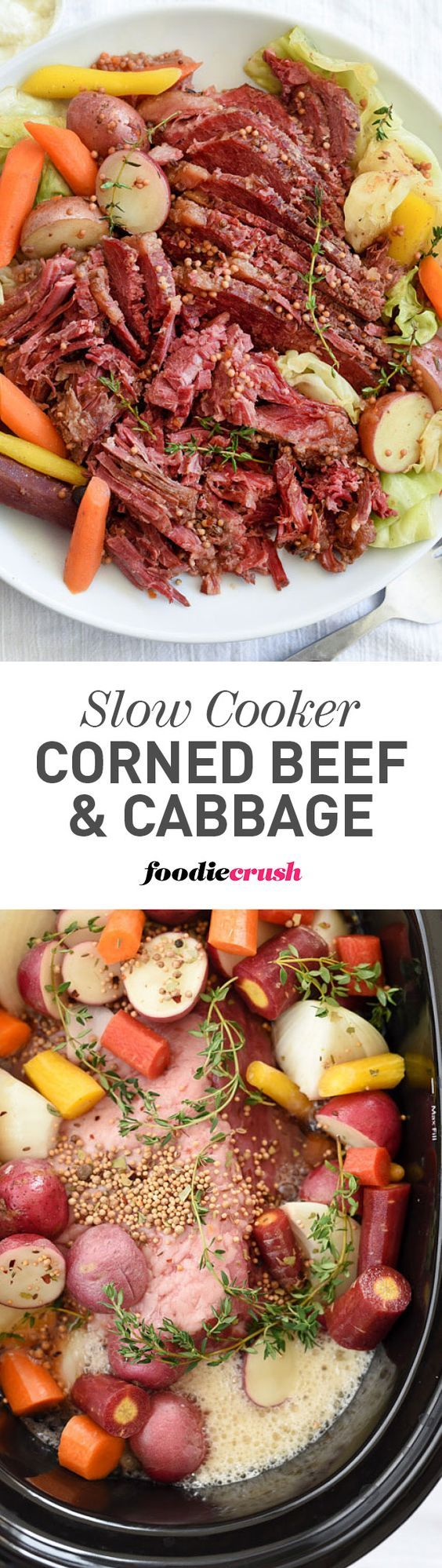This slow cooker corned beef creates tender, fall-apart chunks of beef thanks to braising in beer and vegetables for an unbelievably easy one-pot dinner | foodiecrush.com #cornedbeef #stpatricksday #crockpot