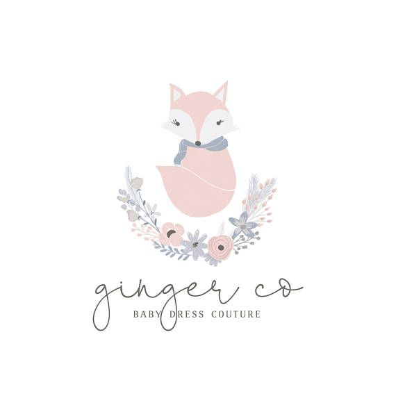 Fox logo design children's clothing logo woodland, cute fox illustration, couture dress logo, logo design inspiration, clothing fox logo, floral logo, botanical with fox, woodland logo, woodland fox illustration