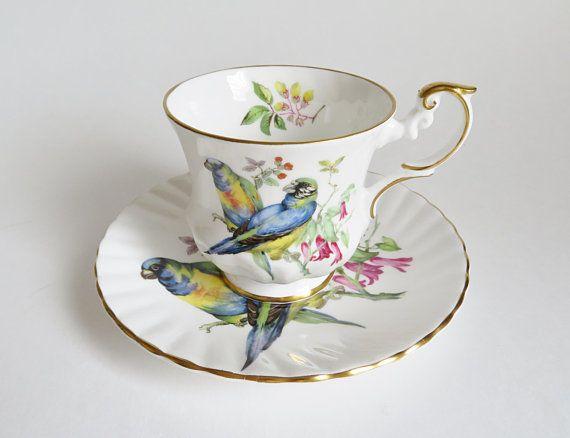Rosina Budgie Teacup, Vintage Rosina Tea Cup and Saucer, Bird Teacup, Bird Lover Gift, Parakeet Teacup, Bone China Teacup, Vintage Teacup