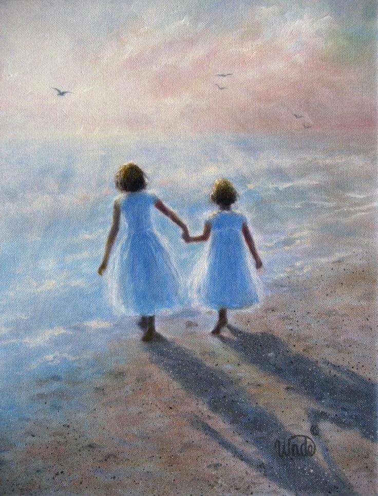 Imagine Sisters Print - Vickie Wade art, ocean, beach, paintings, two sisters, prints, children, girls, sisters, girlfriends. via Etsy.