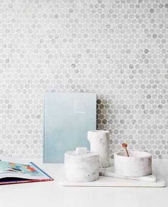 Image result for carrara bianco penny round mosaic backsplash