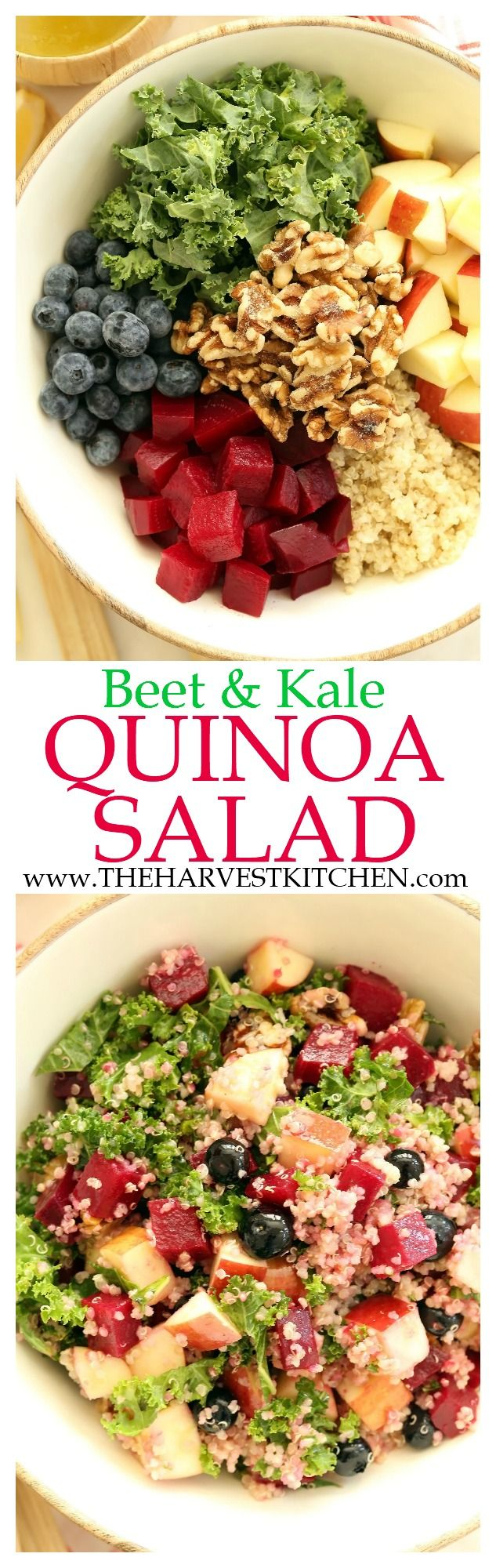 This Beet & Kale Quinoa Salad is a powerhouse salad that's loaded with vitamins, minerals and a combo of sweet and earthy flavors! | vegetarian recipes | | quinoa salad recipes | | detox recipes | | detox salad | | clean eating | | healthy recipes |