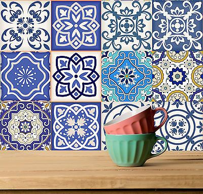 Blue TILE Stickers Pattern 24 PC (2x12) SET for Bathroom &  Kitchen Stickers SB2