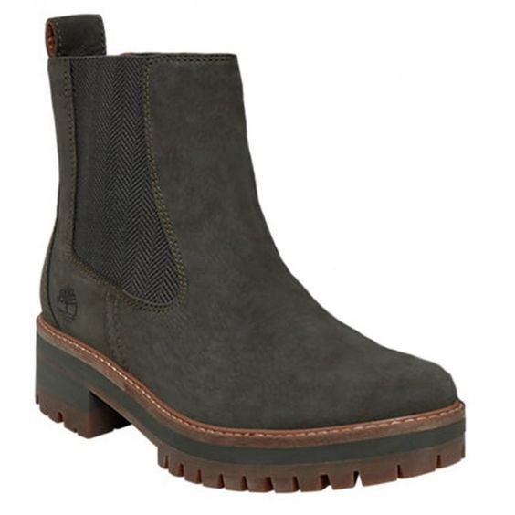 Timberland Courmayeur Valley A1J5U Womens Leather Chelsea Boots - Olive Night