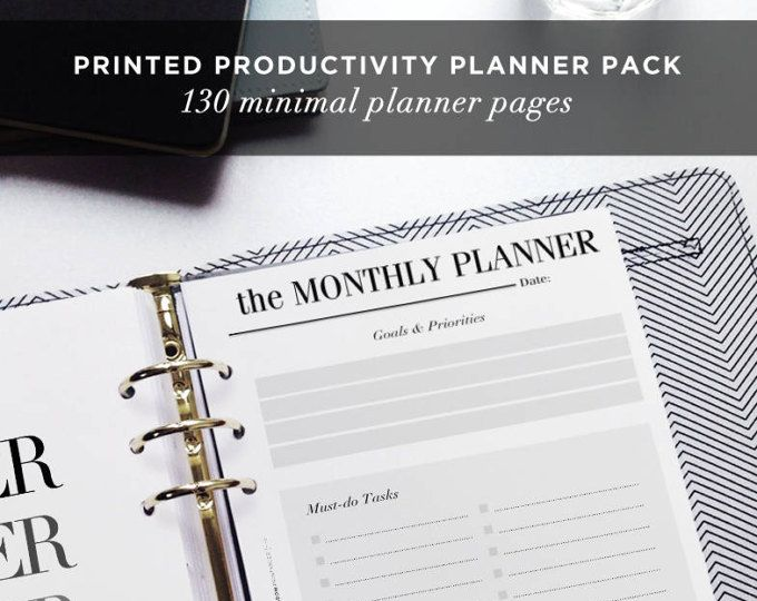 PRINTED Productivity Planner Inserts: 3 Months | Work Planner, To Do List, Monthly & Weekly Planner, A5 Planner Pages, LV Agenda Filofax