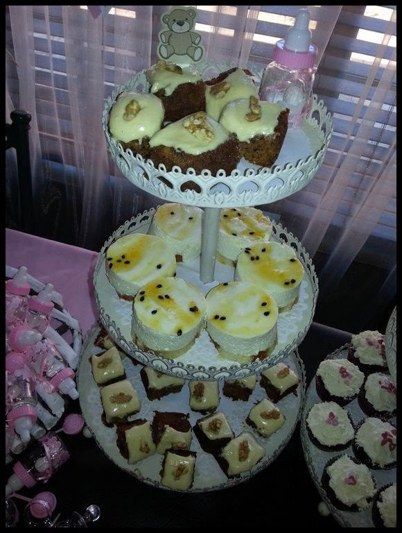 cheese cake and carrot cake at the baby shower
