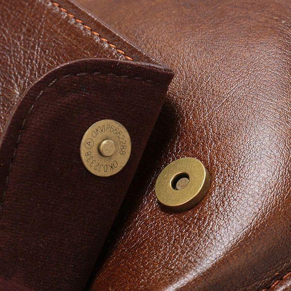 Vintage Genuine Leather Business Multi-function Crossbody Bag For Men - US$47.71