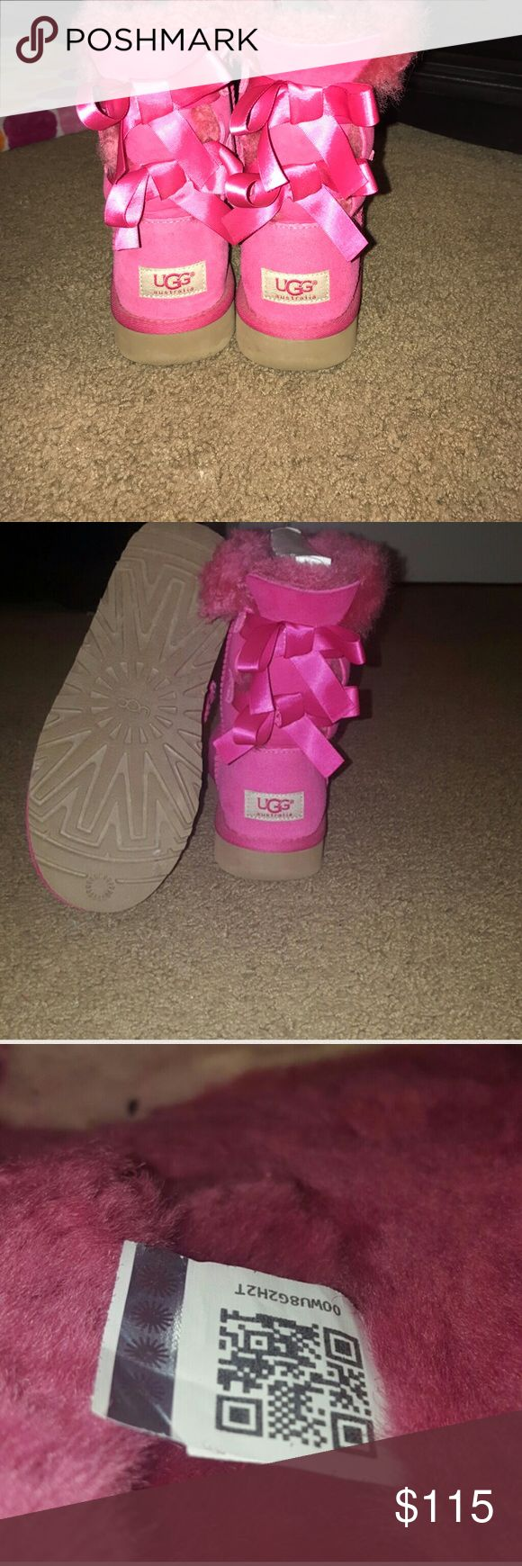 NO TRADES: UGG bailey bow boots in pink Only worn once! No signs of wear on boot. I'm a size 6.5 in women's and they fit me perfectly. They would also work for a child's size 4😊 UGG Shoes Winter & Rain Boots