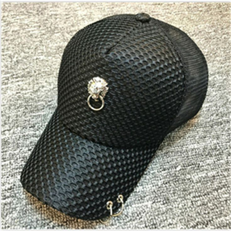 2017 Fashion Iron Ring Decor Women Baseball Snapback Hats Casual Breathable Summer Bone Caps For Women Hiphop Hat Casquette