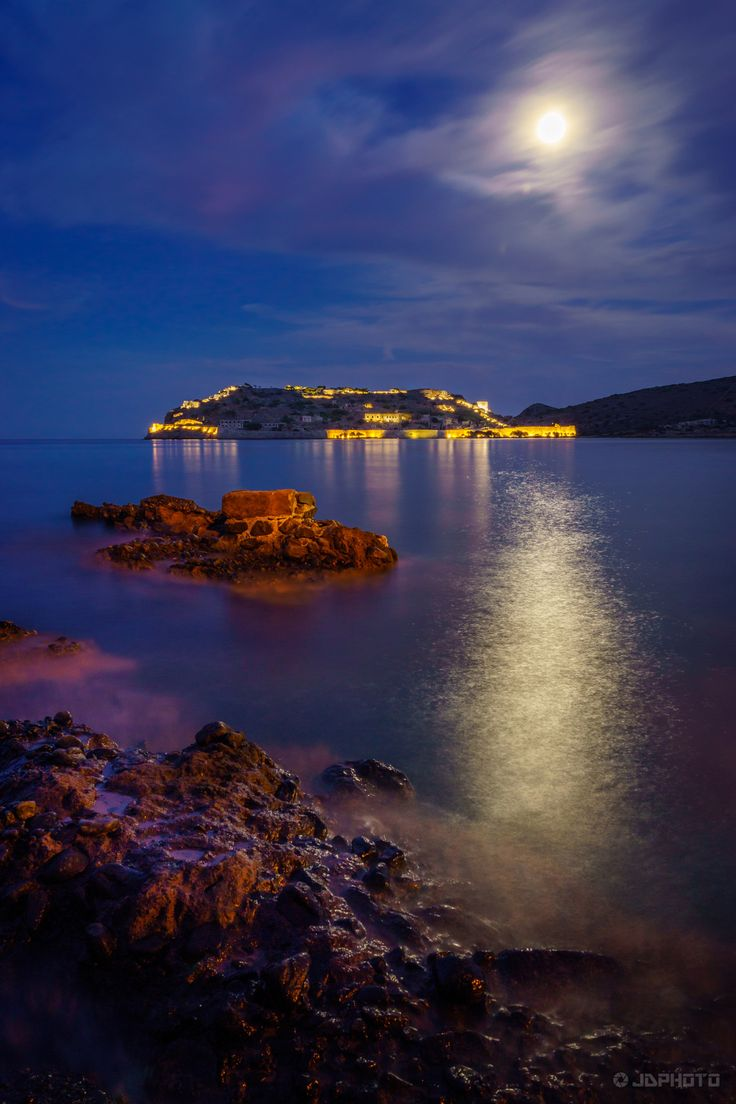 """This is the small island """"Spinalonga"""" which is located in the Gulf of Elounda, Crete."""