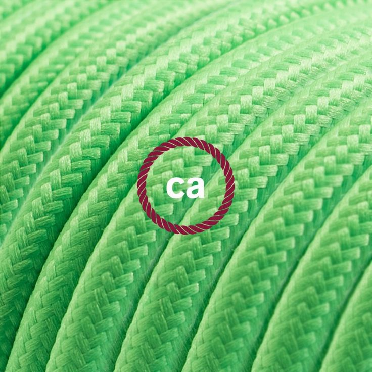 Round Electric Cable covered by Rayon solid color fabric RM18 Green Lime Choose your country here: www.creative-cables.net #lighting #illuminazione #homedecor #house #haus #maison #hogar #casa #design #fabric