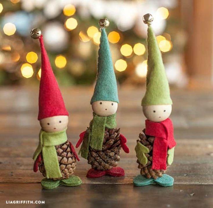 Como hacer elfos navideños con piñas de pino y fieltro