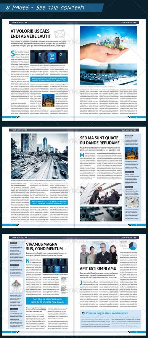 Modern Newsletter Template  Download GraphicRiver Modern Business Newsletter Template A4