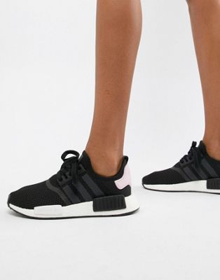 4e5235ae43424 adidas Originals Nmd R1 Trainers In Black And Pink