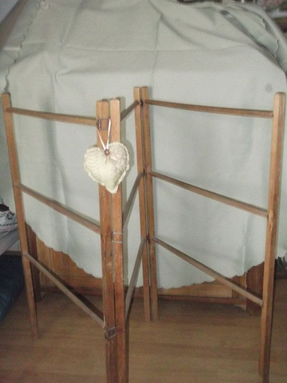 1920 's wooden Clothes Horse, trifold Airer , vintage Clothes Horse, Vintage Washing Airer, vintage towel Rail