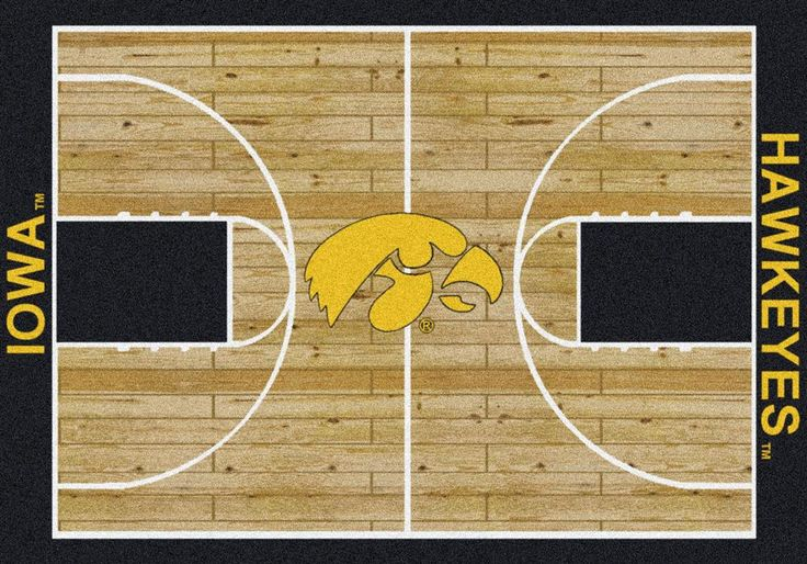 Iowa Hawkeyes Home Court Rug. This Hawkeyes rug features detailed hardwoods with the team name on the baselines. The Iowa mascot is boldly on display at centercourt. These rugs are made to order in th