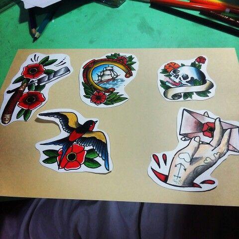 Navalha old school, andorinha old school, caravela old school , flash tattoo , Nilton Medis