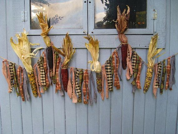 Indian Corn Garland Harvest Decor Fall by AWorkofHeartSA on Etsy