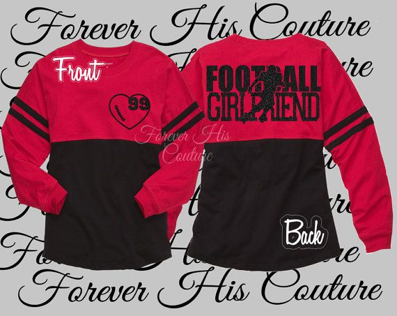 Football Girlfriend Pom Pom Jersey tee by ForeverHisCouture