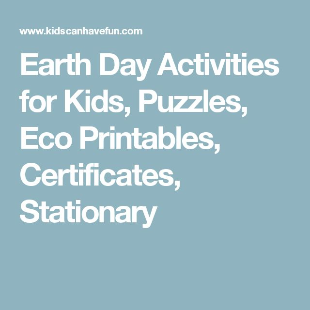 Earth Day Activities for Kids, Puzzles, Eco Printables, Certificates, Stationary