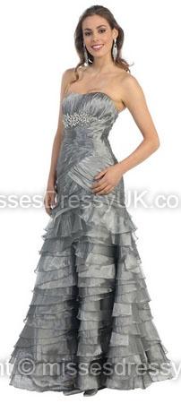 Trumpet/Mermaid Strapless Organza Floor-length Silver Tiered Evening Dress